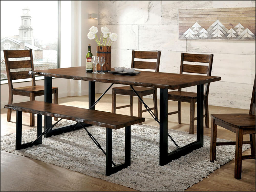 6 Piece Rustic Dining Table Set with Bench