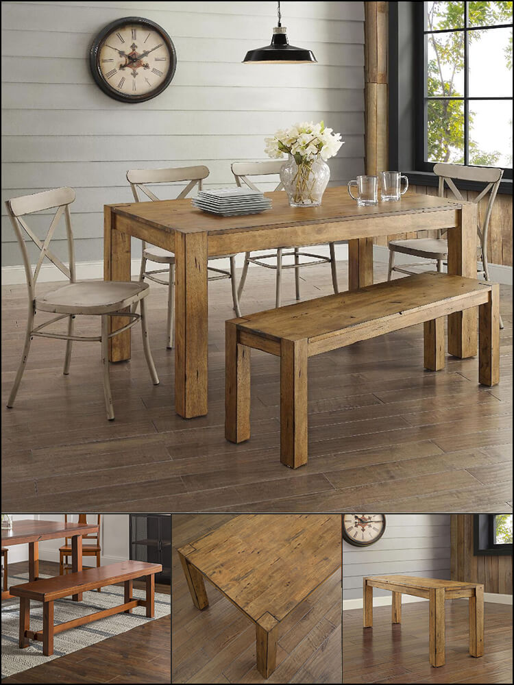 6 Piece Brown Rustic Dining Table With Bench and Chairs