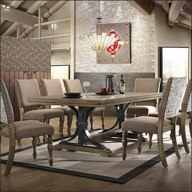 Extendable Dining Table in Grayish Brown