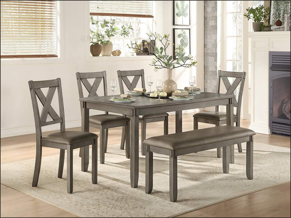 6-piece Pack Rustic Dinette Set with Bench and Chairs