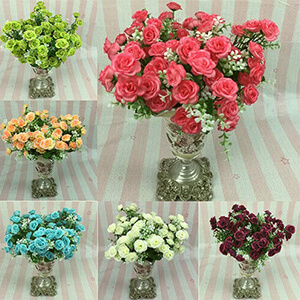 1 Bouquet, 5 Branches, 15 Heads Artificial Roses