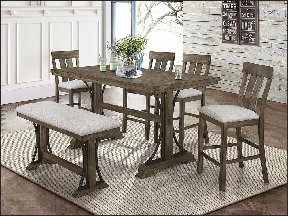 6pcs Rustic Style Dining Set