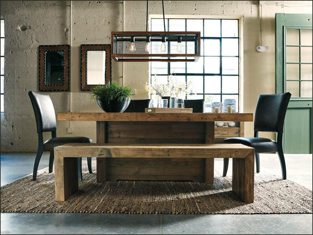 6pcs Modern Rustic Dining Room Set with Bench and Chairs