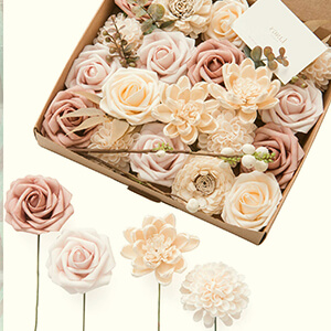 Natural Dusty Rose Artificial Flowers Combo