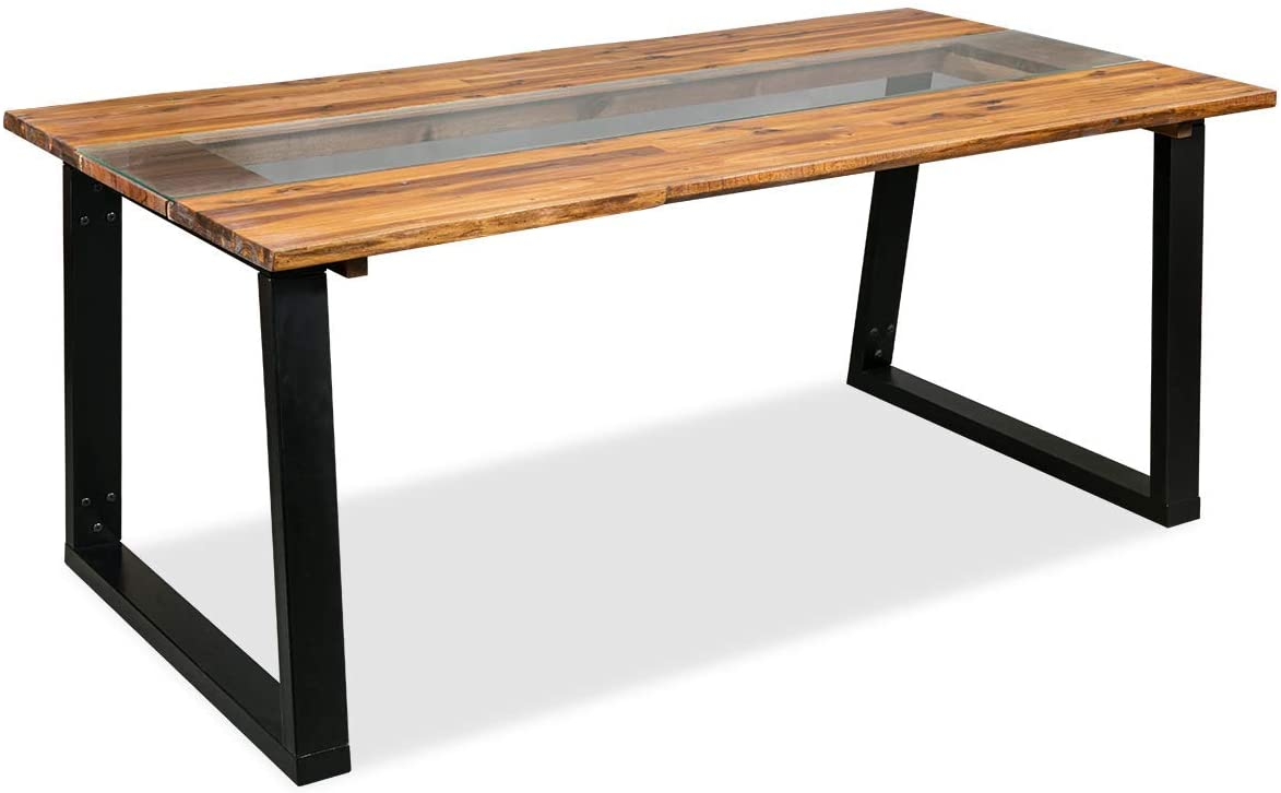 Solid Acacia Wood Live Edge Dining Table and Glass