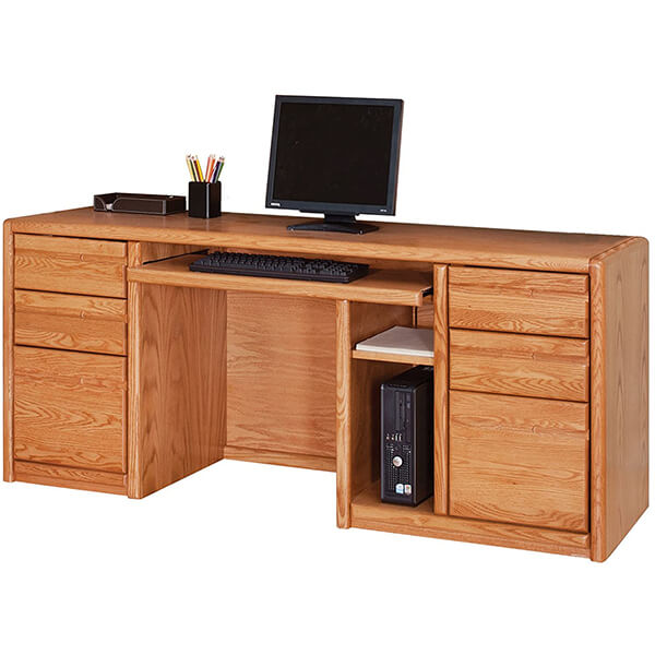 Credenza Computer Desk in Medium Oak
