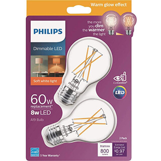 Philips LED Dimmable A19 Clear X-Filament Glass Light Bulb