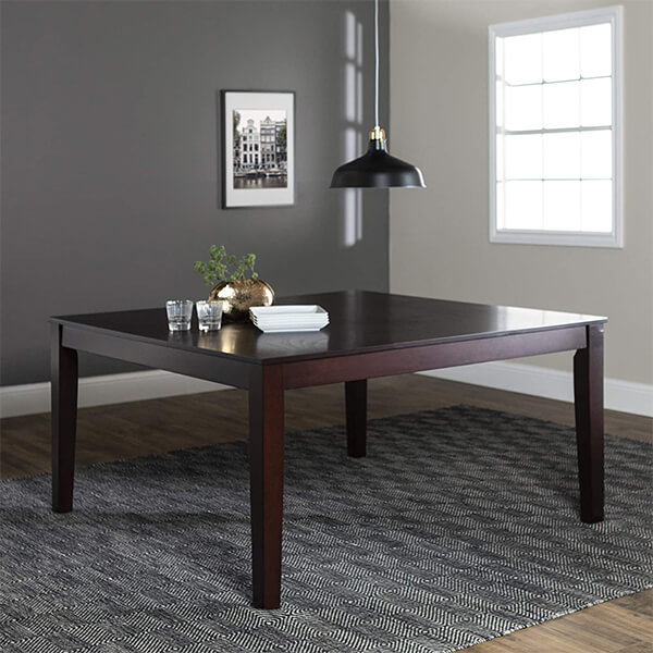 Cappuccino Finish Square Wood Dining Table