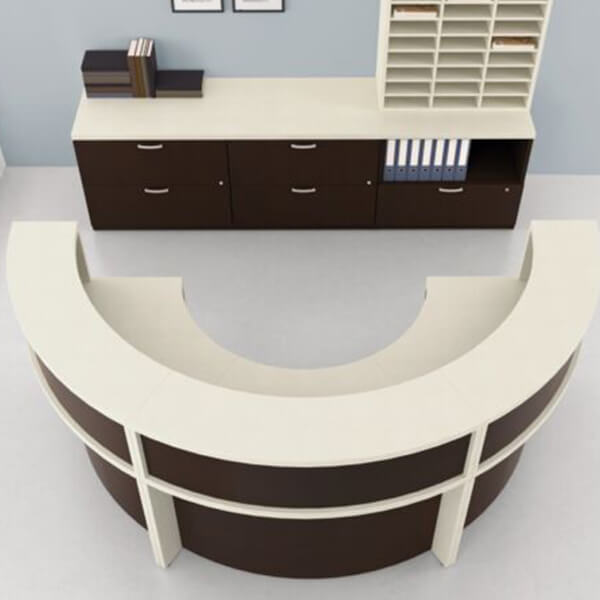 Modern Curve Reception Office Desk With Credenza