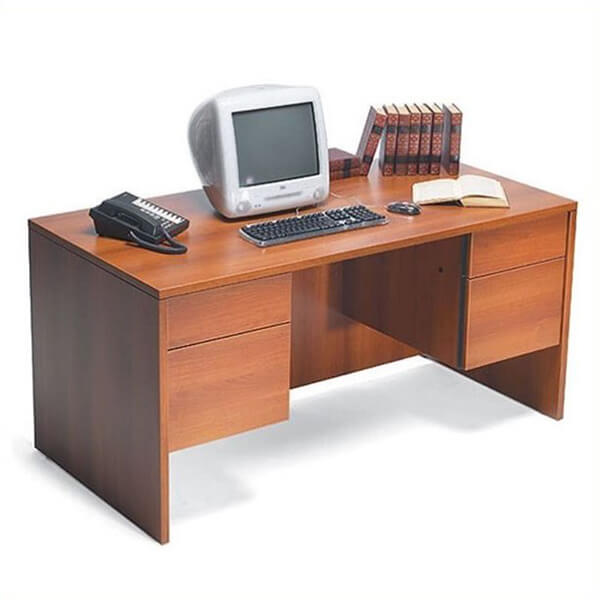 Double Pedestal Wood Credenza Desk