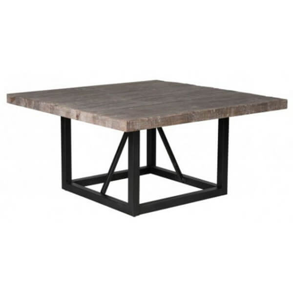 Pine Wood and Metal Square Dining Table