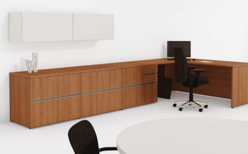 Modern Executive Office Desk With Conference Table and Credenza
