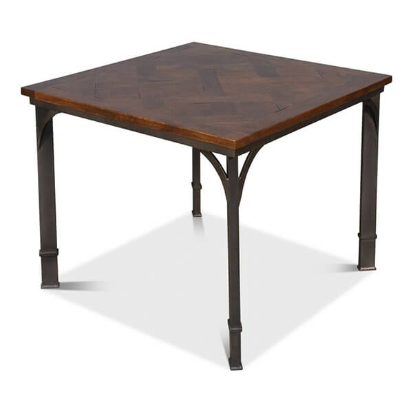 Iron Base Solid Acacia Wood Square Dining Table