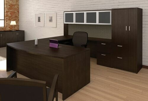 U Shape Executive Office Credenza Desk With Hutch And Storage Cabinet