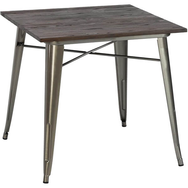 Wood and Metal Square Dining Table