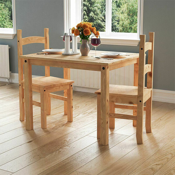 Solid Pine Wood 2 Seater Dining Set