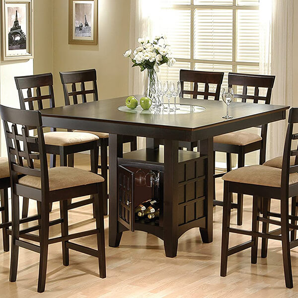 9-Piece Counter Height Square Dining Table Set