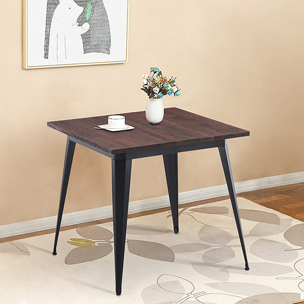 Wood & Metal Square Dining Table