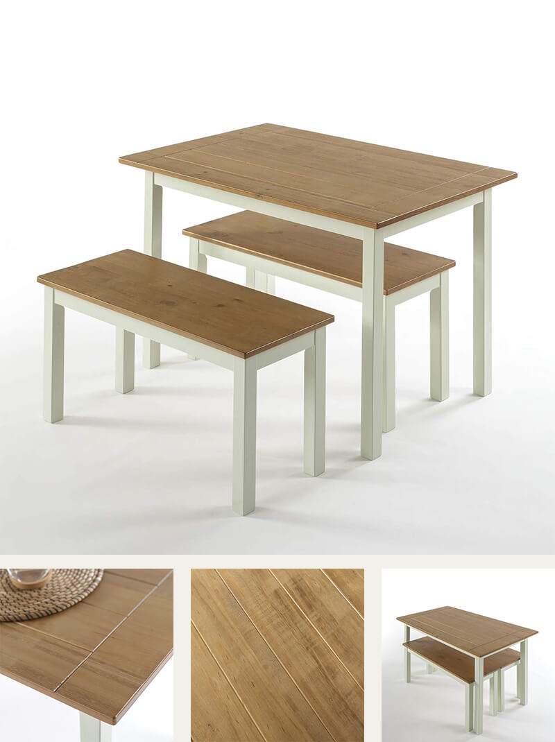 Light wood dining table with two benches