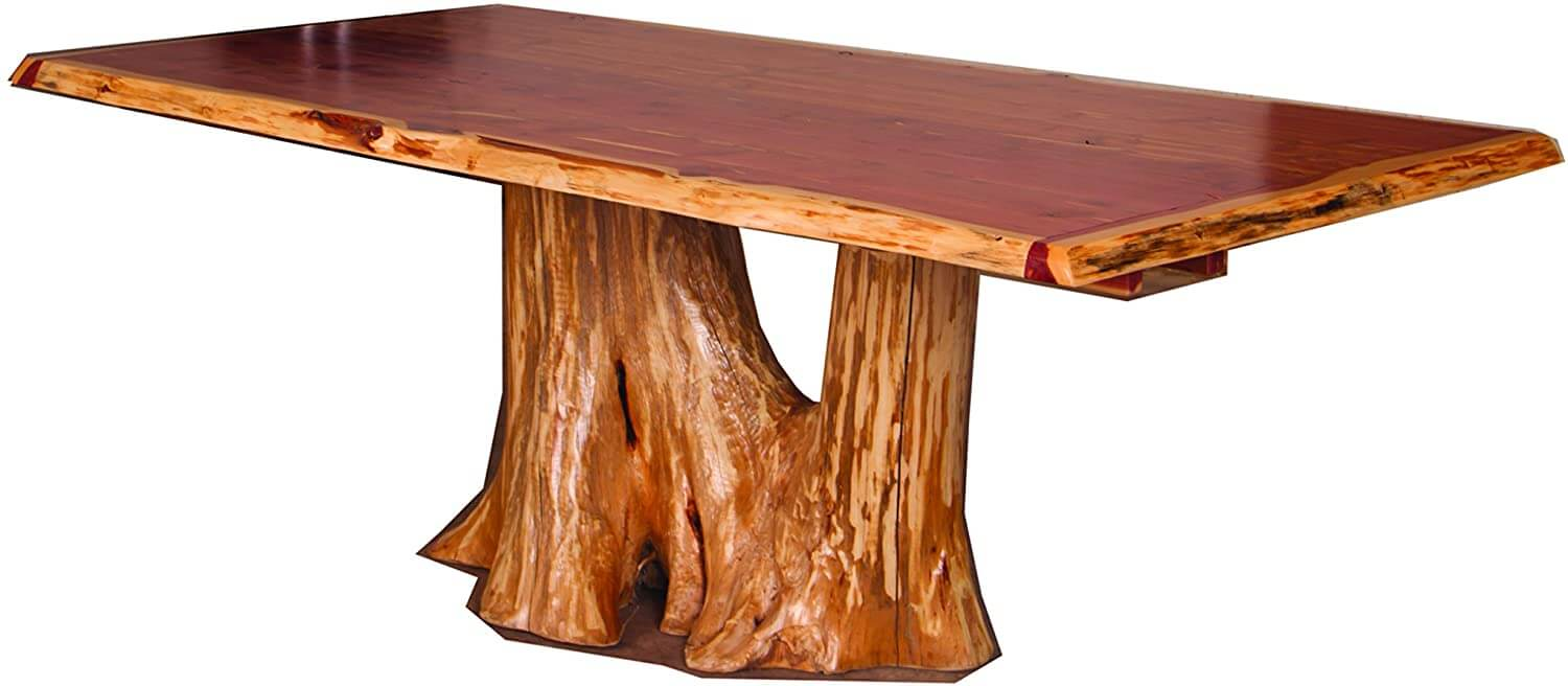Red cedar log stump dining table with 8 chairs