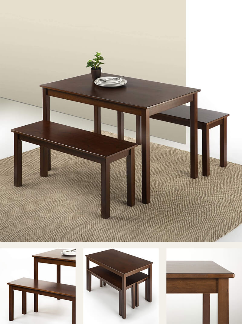 Espresso wood dining table (3-piece set)