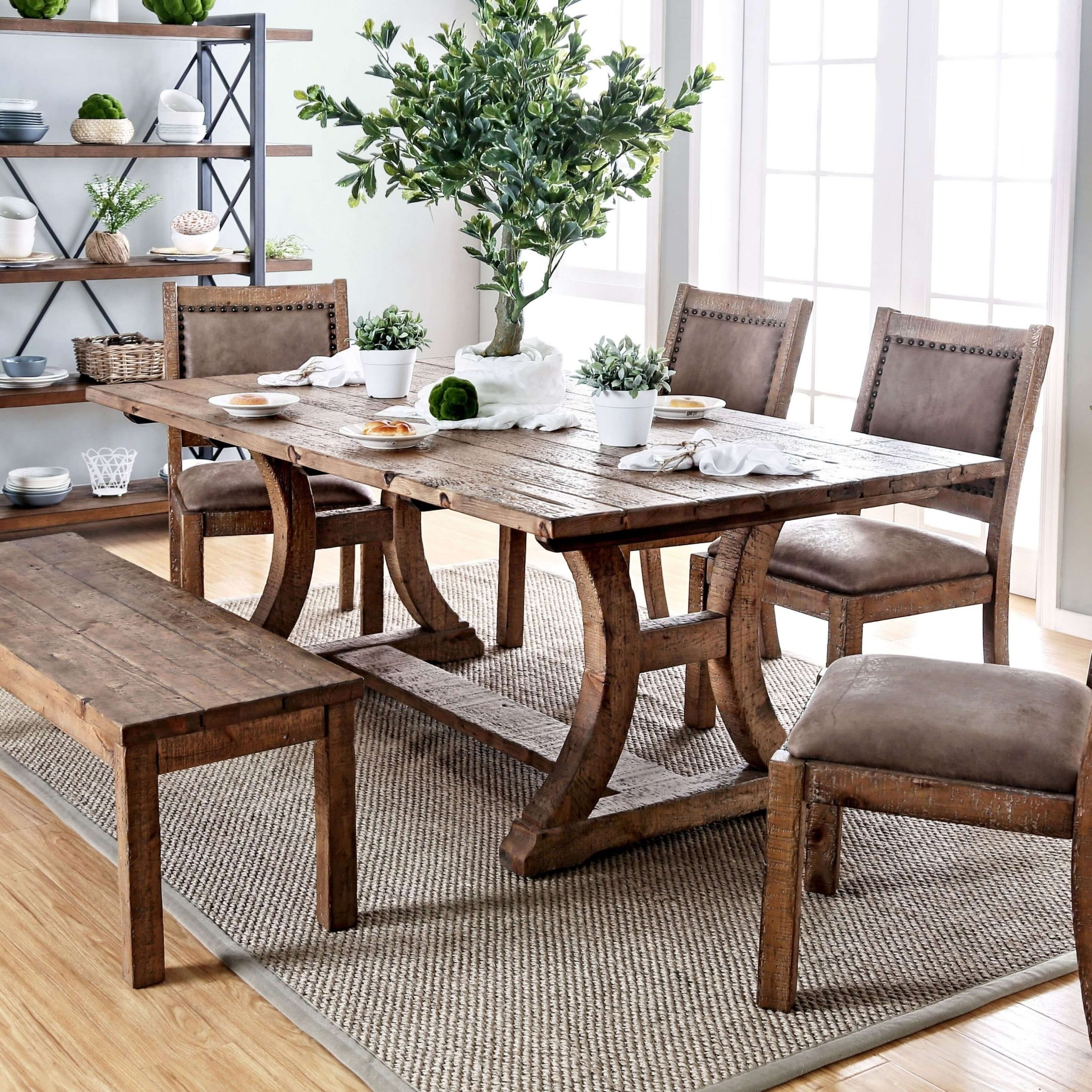 Pine solid wood dining table