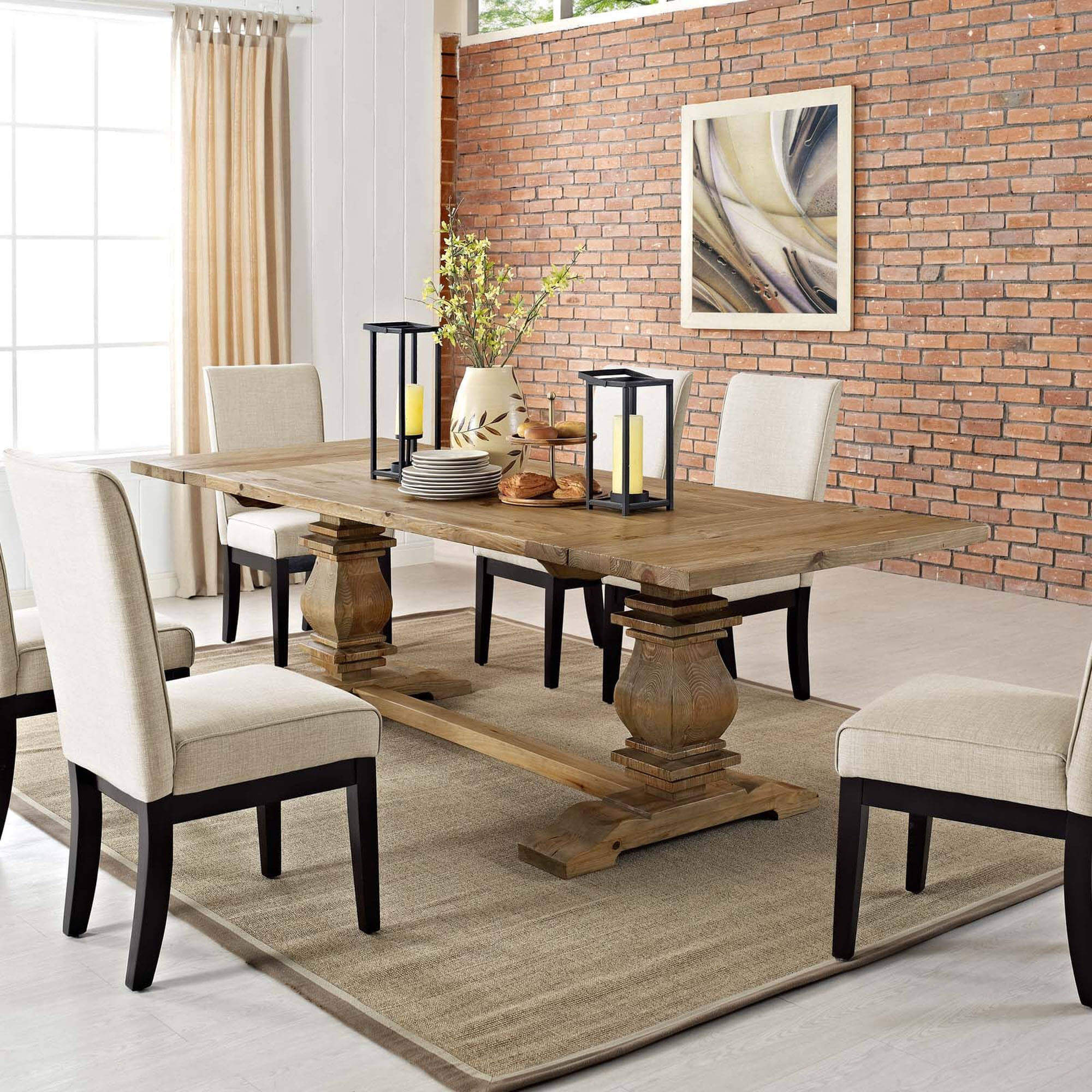 Light wood extendable dining table with solid pine wood