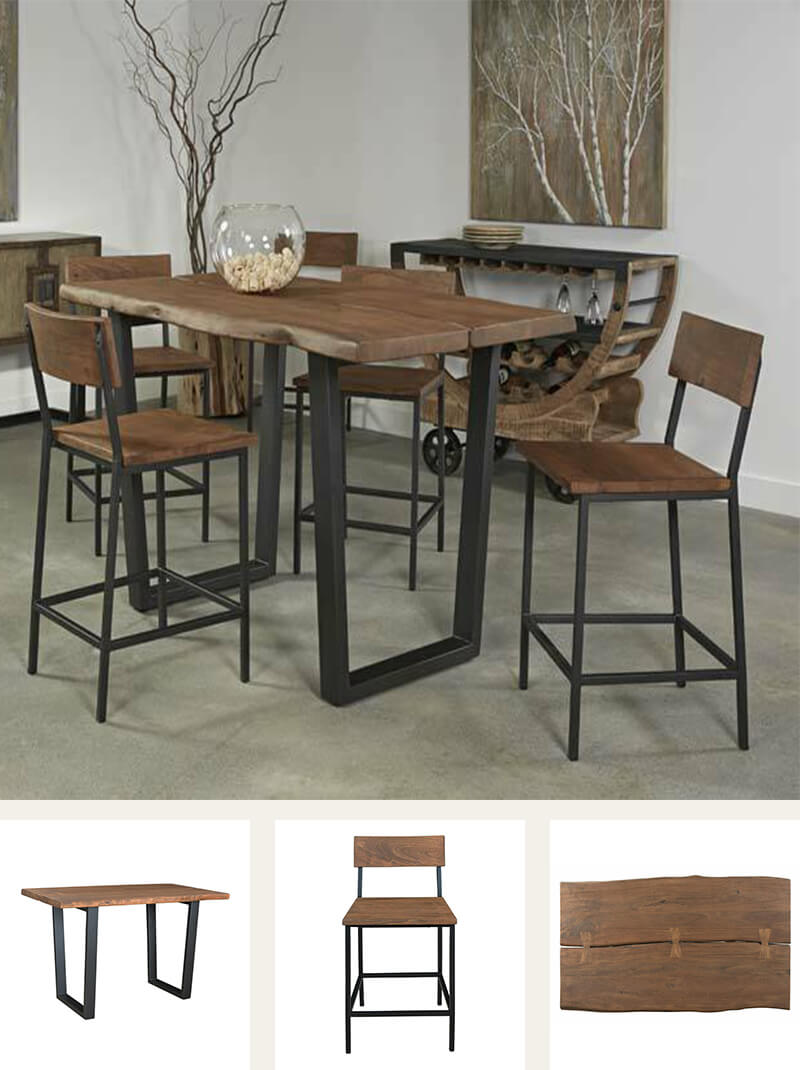 Sequoia 5 pieces counter height light wood dining room set