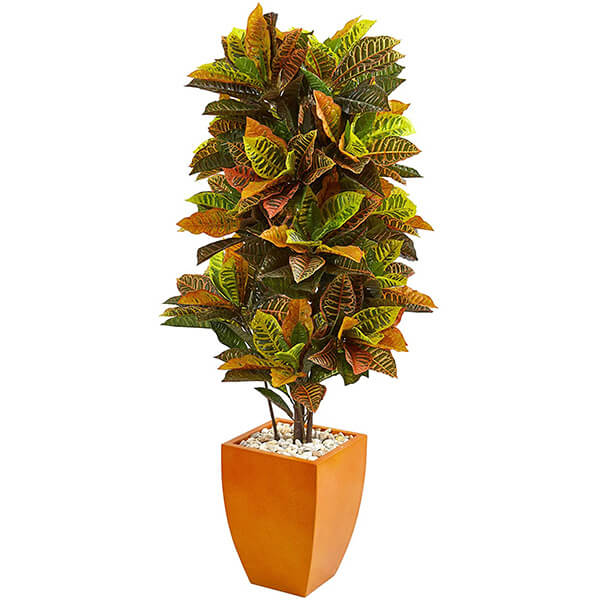 Artificial Croton Plant with Variegated Leaves (5ft. 6 in)