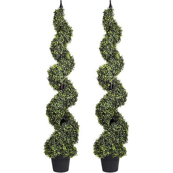 Combo 2 Pcs of Anti-fading Artificial Boxwood Trees (5 ft)