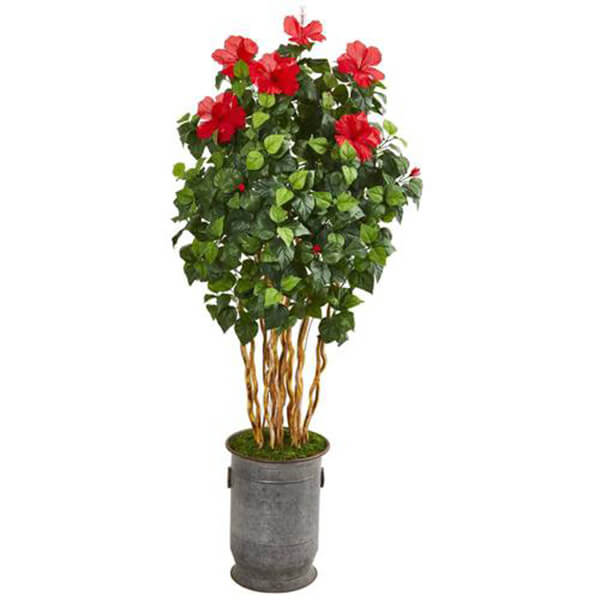 Silk Hibiscus Tree with Decorative Planter (5 ft. 7 in)