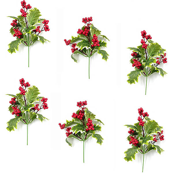 6 Pcs of Fake Holly Plants for Decoration (9 in)