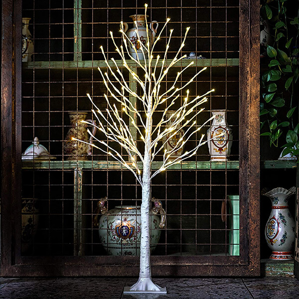 Fake Birch Tree with 160 LED Lights (4 ft)
