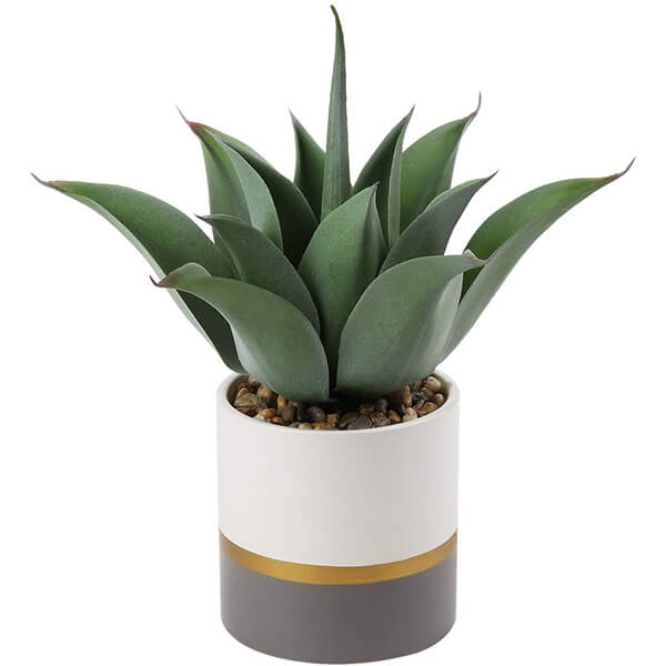 Realistic Fake Agave Plant with Ceramic Pot (0 ft. 12 in)