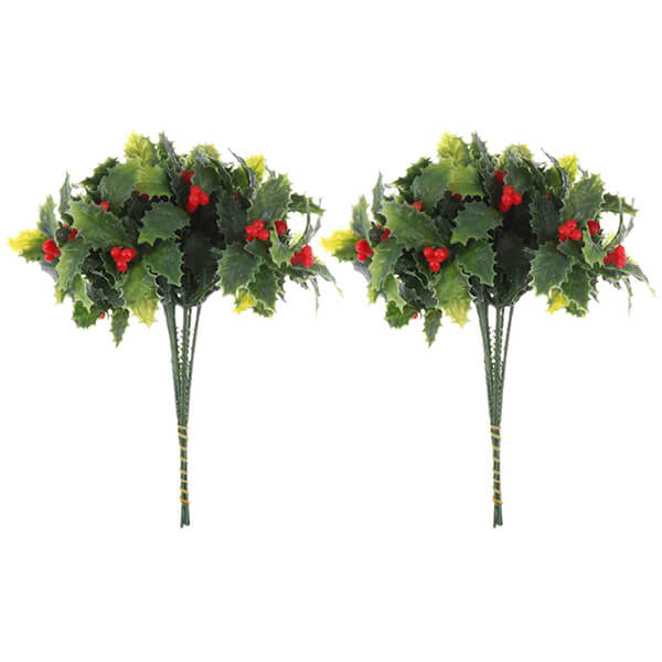 12 Pcs of Faux Holly Plants at Low Prices (7 in)