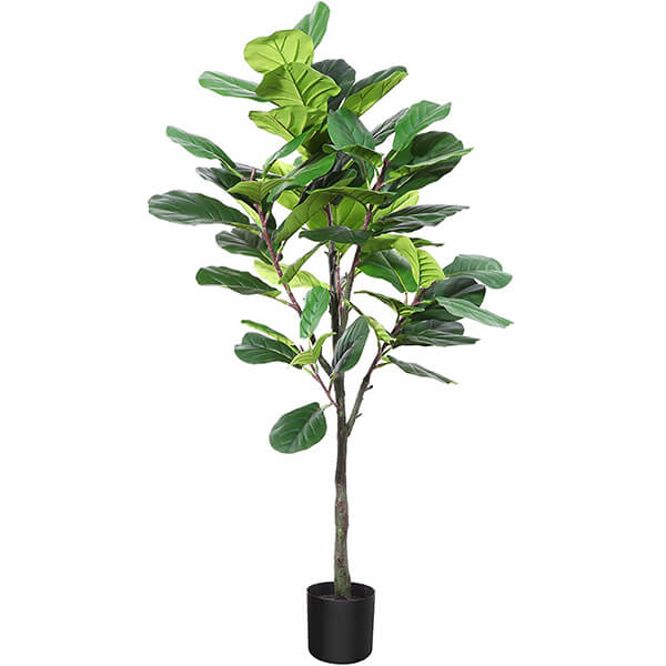 Faux Fiddle Leaf Fig Tree with Multi Hued Leaves (4 ft. 3 in)