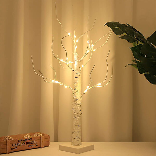 Table Top Fake Birch Tree with 24 LEDs (2 ft. 3 in)
