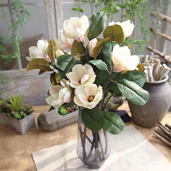 UV resistant Artificial Magnolia Flowers for Outdoor Usage