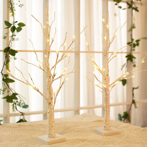 2 Pcs of Tabletop Birch Trees, with 24 LED Bulbs each (2 ft)