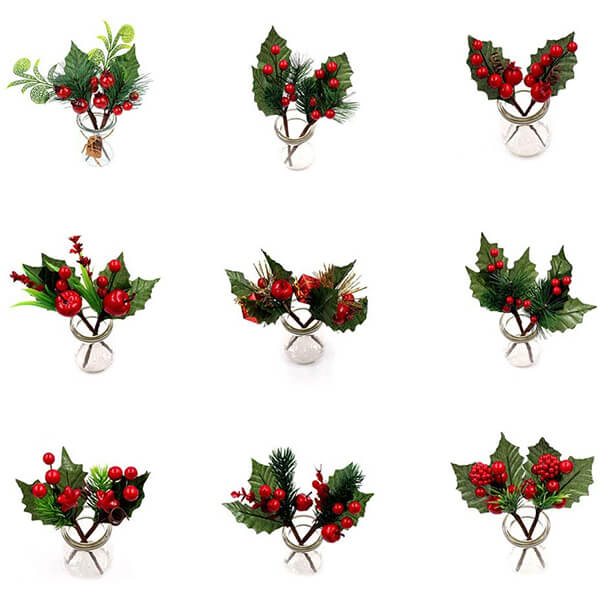 9 PC's of Faux Holly Plants (6.5 in)