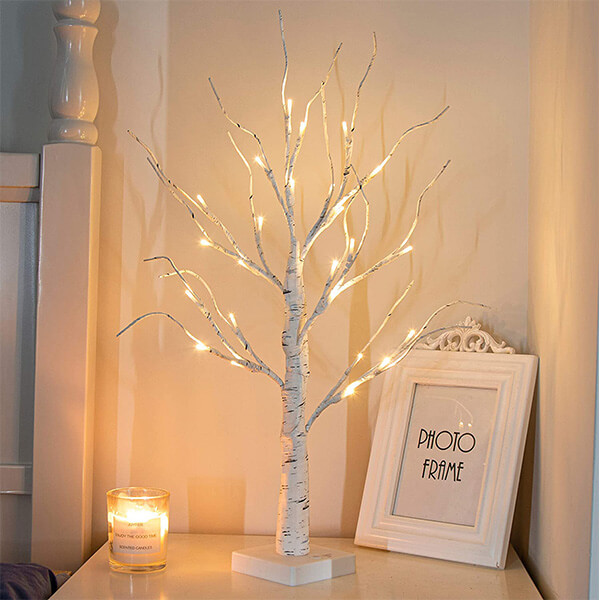 Lit Birch Tree with 24 LED Lights (2 Ft)
