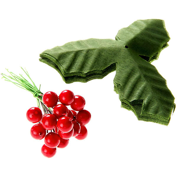 50 PCs of Holly Leaves and Berries