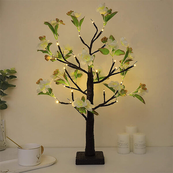 Light-Up Artificial Magnolia Plant with 24 LED Lights (1 ft. 9 in)