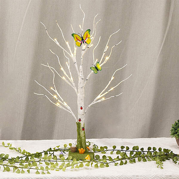 Unique Birch Tree with Butterflies with 24 LEDs (2 ft)