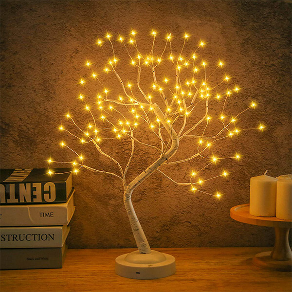 Picturesque Artificial Birch Tree with 108 LED Lights (1 ft. 8 in)