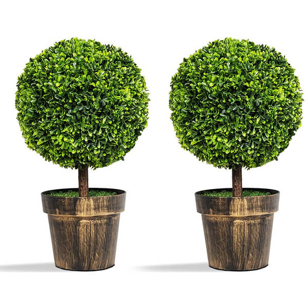 Artificial Boxwood Tabletop Plants with Pots (1 ft. 10 in)