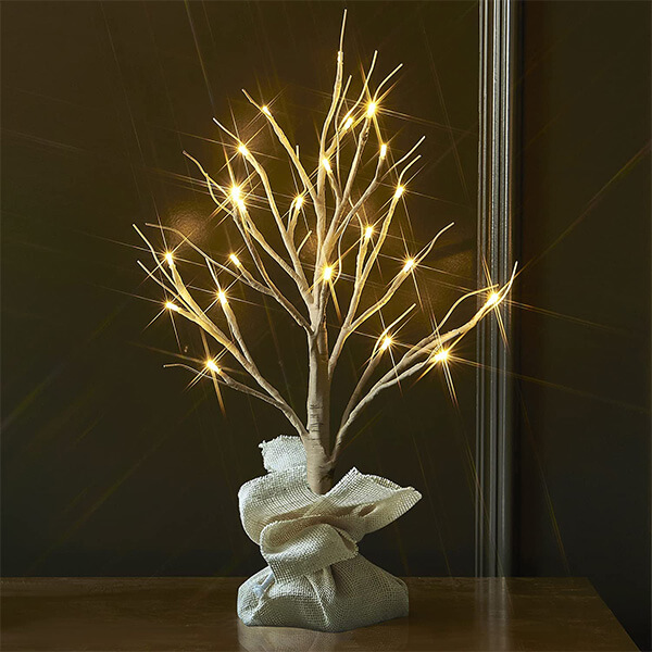 LED Birch Tree with 24 Warm LED Lights and Timer Function (1 ft. 8 in)