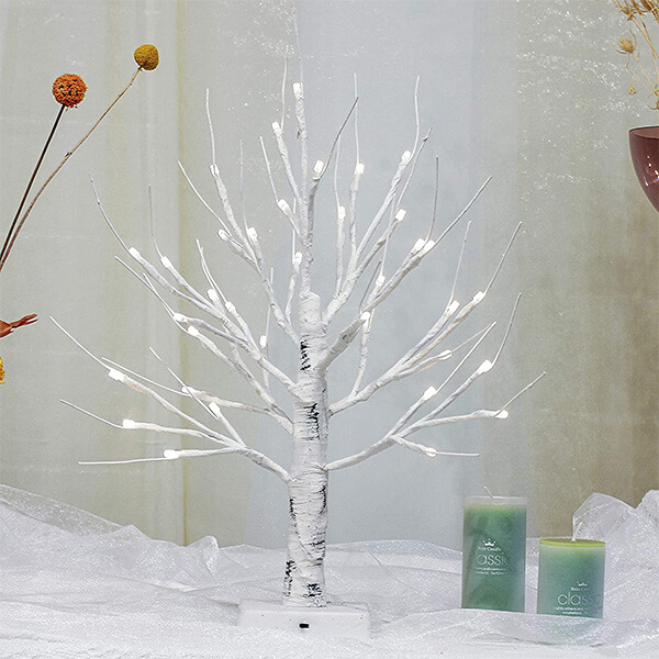 Artificial Birch Tree with 36 LED Lights (1 ft. 6 in)