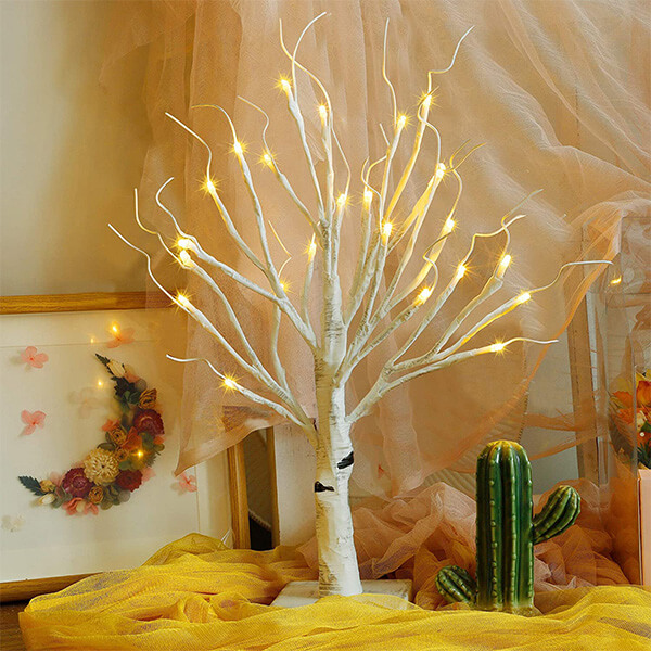 Fake Artificial Birch Tree with 24 LED Lights (1 ft. 6 in)