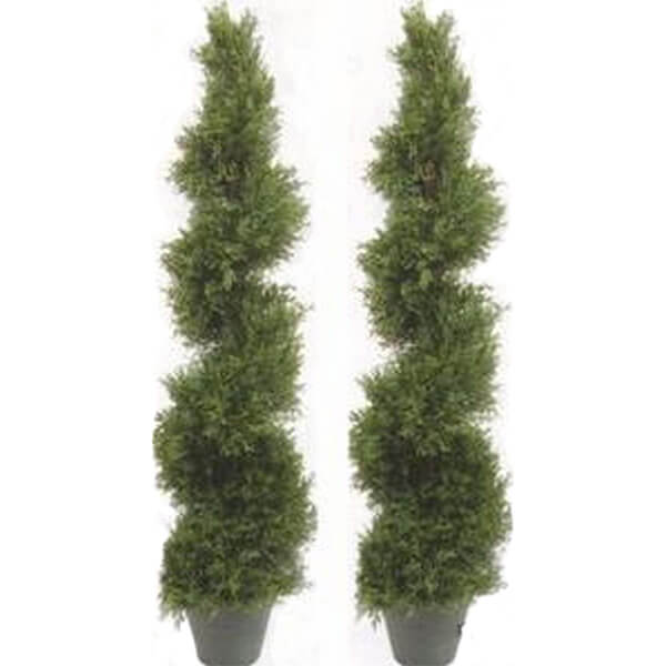 2 Pcs Combo of Artificial Silk Cypress Trees (5 ft. 4 in)